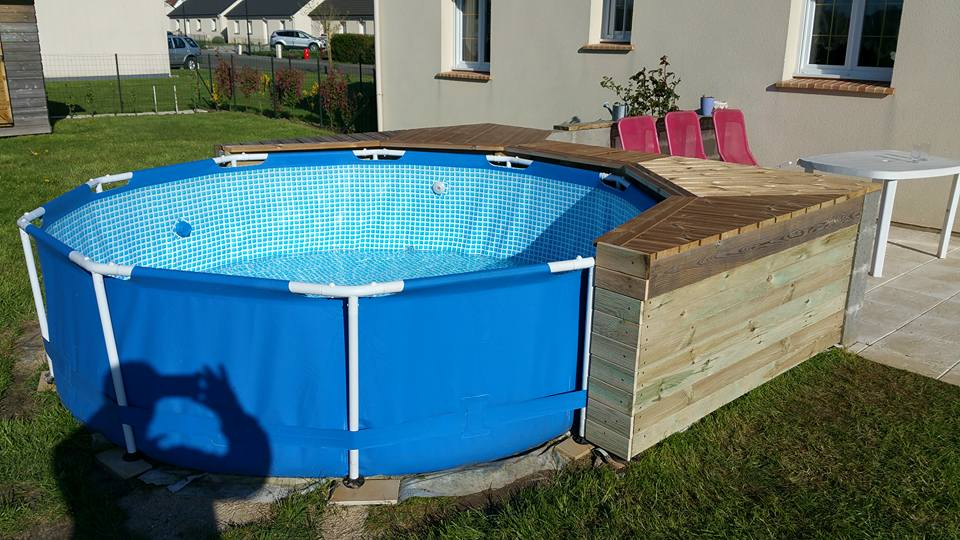 Habillage piscine autoport intex piscines plages for Piscine autoportee en bois